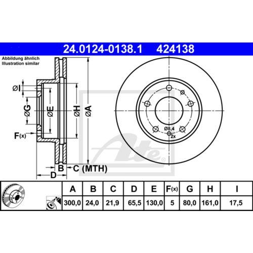 24.0124-0138.1 2x Bremsscheibe Bremse ATE